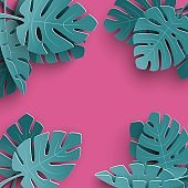 Summer background with paper cut out tropical leaves, exotic floral design for banner, flyer, invitation, poster, web site or greeting card. Paper cut style