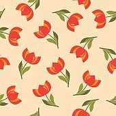 Floral seamless pattern with tulips