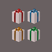 Set of white gift boxes with gold, red, blue, green ribbon bows on a dark background.