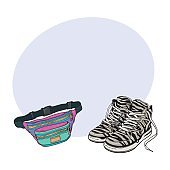 Personal items from 90s - zebra patterned sneakers, colorful waist bag