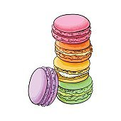 Hand drawn stack of colorful macaron, macaroon almond cakes