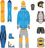 Set of snowboarding gear, clothing, equipment