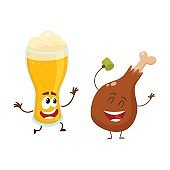 Funny beer glass and fried chicken leg characters having fun