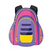 Flat colorful sport style, tourist backpack, school bag, vector illustration
