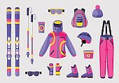 Set of snowboarding gear, clothing equipment icons, flat vector illustration