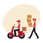 Courier carrying pile of boxes, delivering packages by scooter, motorcycle