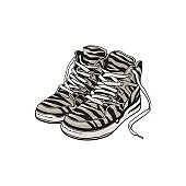 Pair of zebra patterned sneakers, sport shoes from 90s