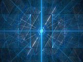 Blue glowing laser beams background