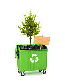 concept of environmental saving and the cleansing of the planet from garbage. Wooden plaque and a tree sticking out of a trash can. 3D illustration