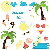 Vector set of summertime equipment. Flat style design. For site and icons