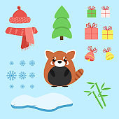 Vector set of red panda with xmas staff: lollipop, gifts, tree, iceberg, hat and scarf, bamboo and bells. Cartoon illustration