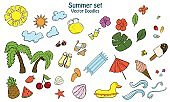Summer set with different items. Doodle hand draw. For icons, backgrounds and textille.