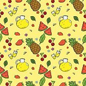 Seamless pattern with summer fruits and lemonade/ Hand draw doodle vector
