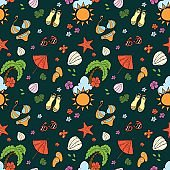 Seamless pattern with summer equipment. Hand draw vector doodle illustration
