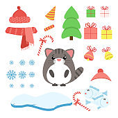 Vector set of cat with xmas staff: lollipop, gifts, tree, iceberg, hat and scarf, fish and bells. Cartoon illustration