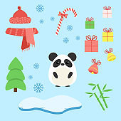 Vector set of panda with xmas staff: lollipop, gifts, tree, iceberg, hat and scarf, bamboo and bells. Cartoon illustration