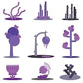 Fantasy flat set plants. Violet flowers and trees, alien. Simple forms