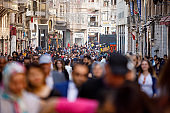Crowded Istiklal street in Taxim, Istanbul