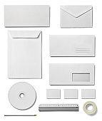envelope letter card paper mobile phone tablet template business pencil clip eraser tape