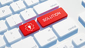 Solution Icon Concept on the Red Keyboard Button