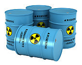 Barrels with radioactive substance