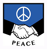 Peace flag or sign and business handshake