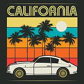 Retro illustration of old classic car text California