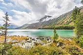 Medial Multinskiye lake. Altai mountains autumn landscape, Russia.