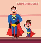 Superhero with son. Cartoon vector illustration