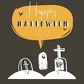 Hand drawn vector abstract cartoon Happy Halloween illustration poster with bats,graves,ghost and modern calligraphy phase Happy Halloween 2017 isolated on black background