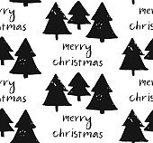 Hand drawn vector simple trendy abstract seamless Christmas tree decoration background pattern dry brush painted with modern calligraphy phase Merry Christmas isolated on white background