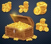 Old wooden chest with gold coins. Many treasures in game style.