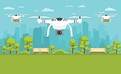 Unmanned delivery of packages, photography around the city. Transport concept of drones.