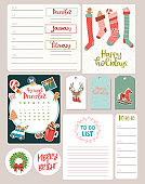Cute Christmas set with Cards, Notes, Stickers, Labels, Tags