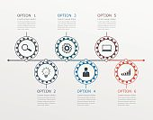 Timeline, infographics template with stepwise structure with 6 options.