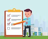 Businessman is holding pencil and notes list  tasks on background big city. Concept of successful completed business plan