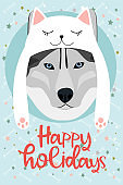 Christmas greeting card with fun dog. Happy Holiday card. New Year poster