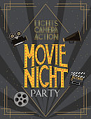 Night Movie party invitation card