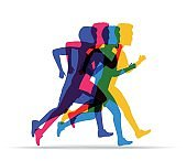 Running marathon, people run in different positions. Colored silhouettes of sports people