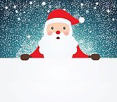 Santa Claus pointing in white blank cloth on snowy background.