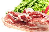 Pork belly  on the white background