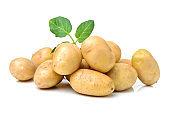 Pile of potatoes arranged on white