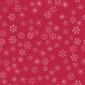 abstract seamless pattern Christmas background of snowflakes on a red. For design of cards, invitations, greeting for the new year.