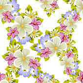 Floral seamless pattern of several flowers and leaves. For design of cards, invitations, posters, banners, greeting for birthday, Valentine's day, wedding, party, holiday, celebration.