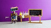 Types of Influenza Viruses poster. Doctor robot antiviral drugs tube, chalkboard Flu variations infographic handwritten: Influenzavirus Spanish Asian Hong Kong Bird Swine. Violet wall lab interior