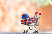Shopping Christmas and New year , gift box and christmas tree in the shopping cart. Holiday Concept
