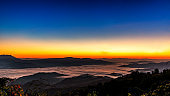 Beautiful sunrise in the morning on Viewpoint, Changmai , Thailand