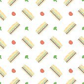 Colorful sandwich with tomato, cheese and salad. Seamless pattern.