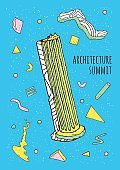 Abstract 80s-90s poster with geometric shapes and antique column.