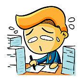 Businessman get overworked